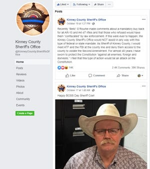 The Kinney County Sheriff's Office in southwest Texas is standing firm against a presidential candidate's calls to 'confiscate' assault-style weapons.