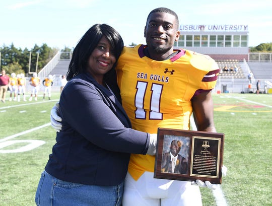 The Sea Gulls' Octavion Wilson celebrated his Mayo Clinic Comeback Player of the Year nomination during SU's homecoming week on Oct. 19, 2019.