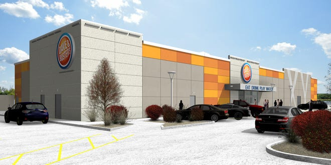 Renderings of Dave and Buster's at Lake Lorraine.