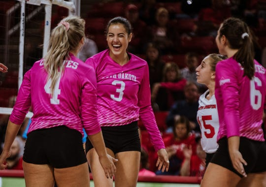 Sami Slaughter celebrates a point against Western Illinois on Oct. 18, 2019.