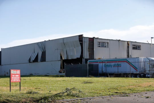 An O'Reilly building was damaged by Monday morning's storm.