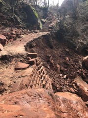 The damage that can be seen at the Lower Emerald Pool Trail in October 2019.
