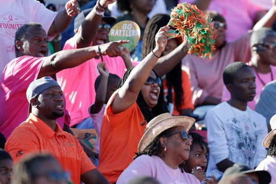Fans cheer and dance during a game between the Florida A&M Rattlers and the North Carolina A&T State Aggies at Bragg Memorial Stadium Sunday, Oct. 20, 2019.