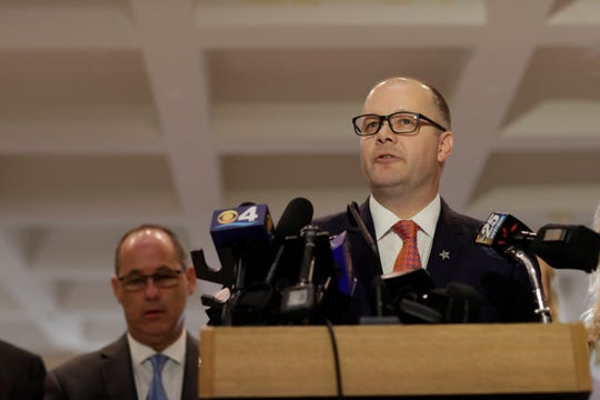Ryan Petty, father of 14-year-old Alaina Petty who died in the Marjory Stoneman Douglas High School shooting, speaks to the press before a Senate special session where the body will decide whether Broward County Sheriff Scott Israel should be reinstated or removed from his position Monday, Oct. 21, 2019.