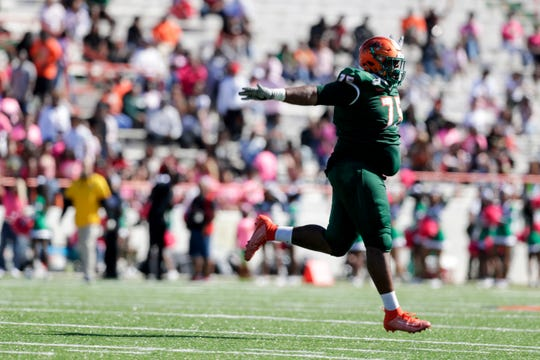FAMU defensive lineman Keenen Anderson celebrates a big play during a game between Rattlers and North Carolina A&T at Bragg Memorial Stadium Sunday, Oct. 20, 2019.