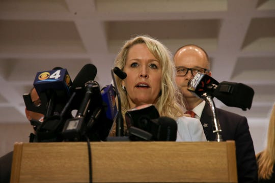 Gena Hoyer, mother of Luke Hoyer, 15, who was killed in the Marjory Stoneman Douglas shooting, speaks to the press before a Senate special session where the body will decide whether Broward County Sheriff Scott Israel should be reinstated or removed from his position Monday, Oct. 21, 2019.
