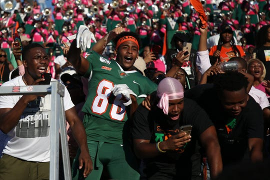 FAMU wide receiver Andrew Davis mixes with fans after defeating North Carolina A&T 34-31 in overtime on Sunday, Oct. 20, 2019. The Rattlers will host a celebration on Dec. 5 at Bragg Memorial Stadium in honor of their triumphant 9-2 season.