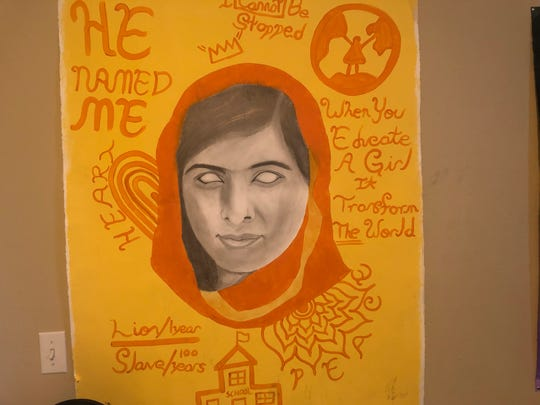 Denzel Goldwire image of Malala Yousafzai, a Pakistan activist for female education and the youngest Nobel prize laureate.