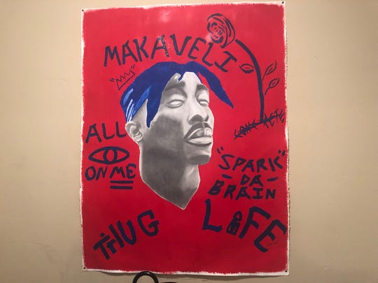 Denzel Goldwire dedicates this piece to the late great Tupac Shakur. His artwork is influenced by the hip hop culture, with Tupac being at the forefront.