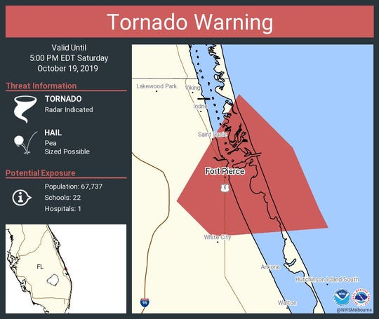A tornado warning was issued Saturday, October 19 for parts of the Treasure Coast by the National Weather Service in Melbourne.