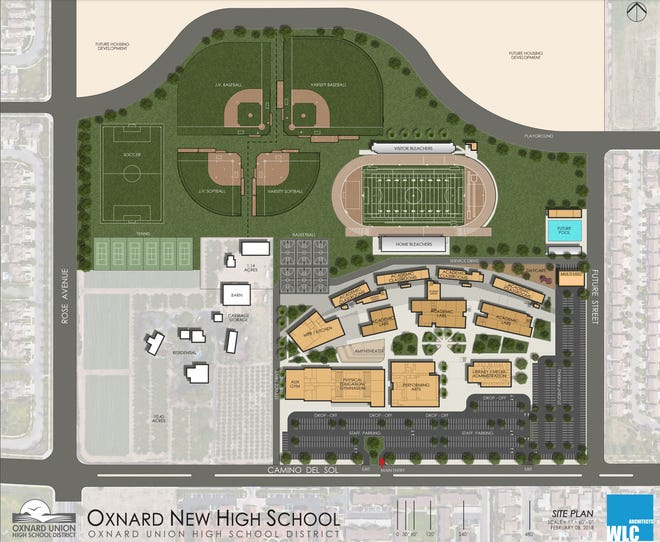 A site plan for the new Oxnard Union High School District campus, which is expected to open in 2021.