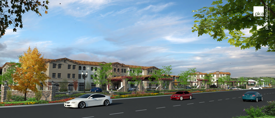 This rendering shows what the new development at the former Timber School Site would look like. Plans include 210 apartments, a hotel, and reuse of existing historic buildings.