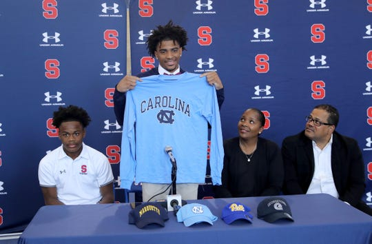 Stepinac basketball star R.J. Davis announced that he has committed to attending the University of North Carolina next year. He made the announced Oct. 21, 2019 at Archbishop Stepinac High School with his parents Vanessa and Robert, and his brother Bryce, 14.