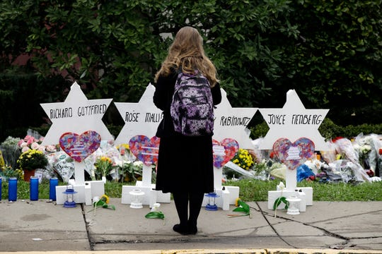 FILE - In this Monday, Oct. 29, 2018 file photo, a person stands in front of Stars of David that are displayed in front of the Tree of Life Synagogue with the names of those killed in Saturday's deadly shooting in Pittsburgh. A Jewish civil rights group says at least a dozen white supremacists have been arrested on allegations of plotting, threatening or carrying out anti-Semitic attacks in the U.S. since the massacre at the Pittsburgh synagogue in 2018. (AP Photo/Matt Rourke, File)