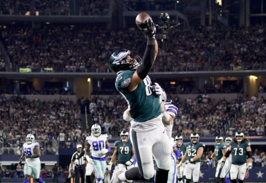 Philadelphia Eagles tight end Dallas Goedert makes a 28-yard touchdown catch against the Dallas Cowboys Sunday, Oct. 20, 2019, at AT&T Stadium in Arlington.