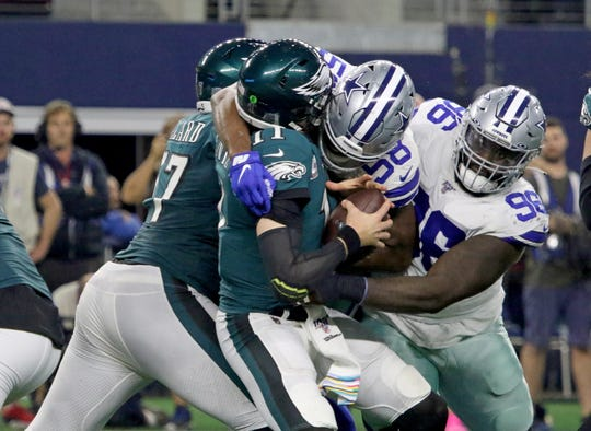 Dallas Cowboys Robert Quinn sacks Philadelphia Eagles quarterback Carson Wentz Sunday, Oct. 20, 2019, at AT&T Stadium in Arlington.
