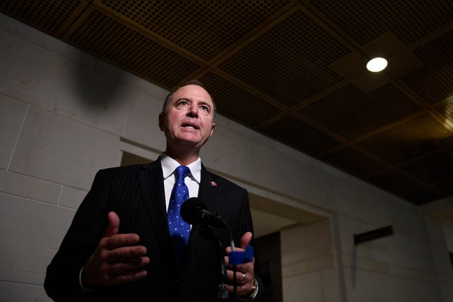 House Permanent Select Committee on Intelligence Chairman Rep. Adam Schiff, D-Calif., speaks to reporters on Capitol Hill Oct. 17, as U.S. Ambassador to the European Union Gordon Sondland is interviewed as part of the impeachment inquiry.