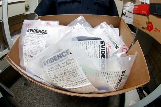 Drug evidence from opioid cases at police headquarters in Barberton, Ohio, on Sept. 11, 2019.