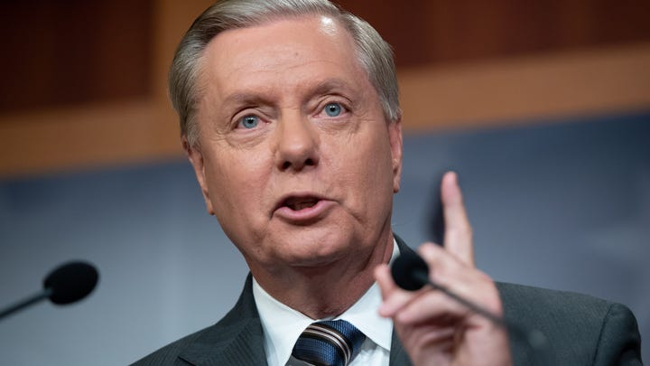 Sen. Lindsey Graham, R-S.C., speaks about sanctions against Turkey at the  Capitol in Washington, Oct. 17, 2019.