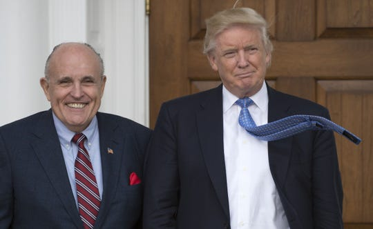 Then president-elect Donald Trump and former New York City Mayor Rudy Giuliani  on Nov. 20, 2016, in Bedminster, New Jersey.