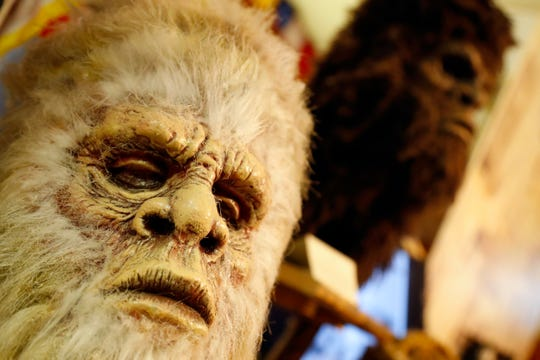 This Aug. 8, 2019, photo shows Bigfoot masks on display at Expedition: Bigfoot! The Sasquatch Museum.