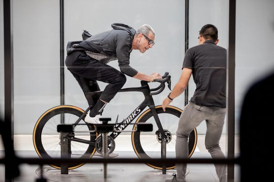 "Jeff Goldblum learns about aerodynamic bike research in ""The World According to Jeff Goldblum."""