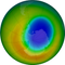 A view of the ozone hole over Antarctica, as of October 2019. The blue and purple colors are where there is the least ozone, and the yellows and reds are where there is more ozone.