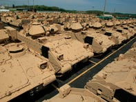 Dozens of completed and battle-ready Bradley fighting vehicles that have been completed stand in a lot at BAE Systems are pictured in York , Pa. on May 5, 2008.