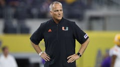 Miami (Fla.) coach Mark Richt watches his team prior to its game against LSU at AT&T Stadium in 2018.