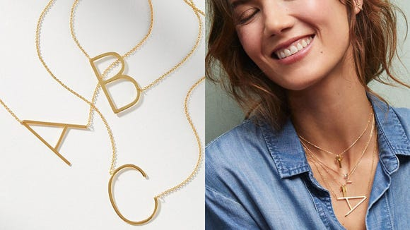 Best gifts for sisters 2020: Anthropologie monogram necklace