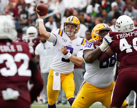 LSU quarterback Joe Burrow prepares to throw a pass during the first half against Mississippi State.
