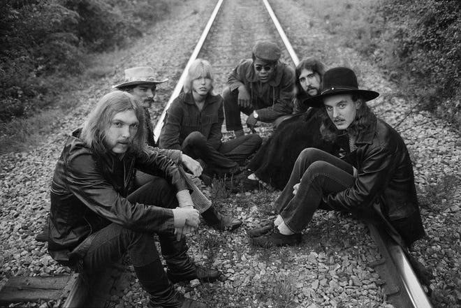 """The Allman Brothers – Duane Allman, left, Dickey Betts, Gregg Allman, Jai Johanny """"Jaimoe"""" Johanson, Berry Oakley and Butch Trucks – pose for a band photo on May 5, 1969, near Macon, Georgia. The Allman Brothers Band's album """"Down in Texas '71,"""" featuring the original lineup pictured, will be released Friday by the Allman Brothers Band Recording Company."""