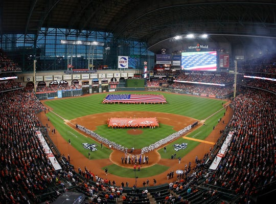 A general view of the field at Minute Maid Park in Houston, which will host the first two games of the 2019 World Series.