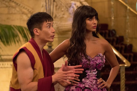 Manny Jacinto as Jianyu, Jameela Jamil as Tehani in 'The Good Place.'
