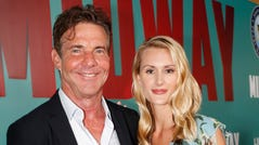 "Dennis Quaid and fiancée Laura Savoie arrive at a special screening of ""Midway"" on Oct. 20, 2019 in Honolulu."