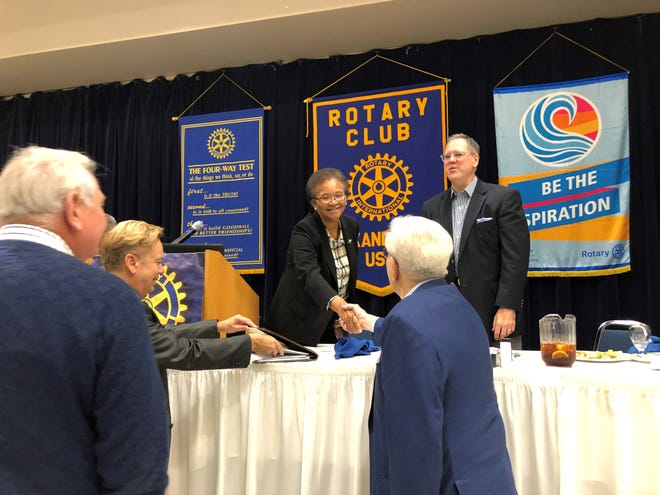 Judge Sylvia R. Cooks (center) greets members of the Rotary Club of Alexandria on Tuesday after she spoke to the group. Her fellow 3rd Circuit Court of Appeal judge, Shannon Gremillion (right) introduced her.