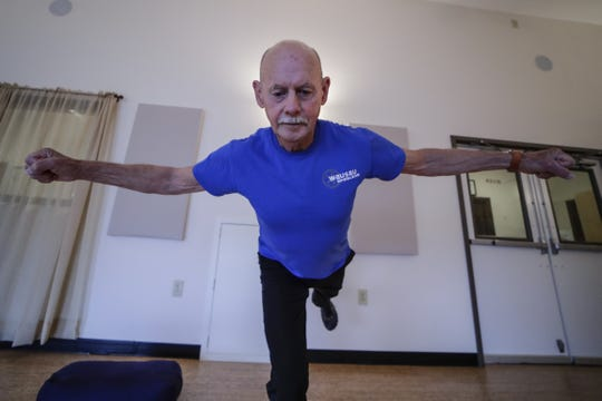 Yoga instructor Bill Miller, 74, teaches a  class at the 5 Koshas Yoga & Wellness in Wausau.