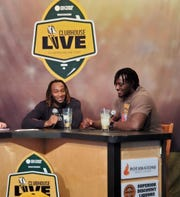 Green Bay Packers running back Aaron Jones (left) co-hosted Monday's Clubhouse Live in Appleton. Jones' guest was Packers defensive lineman Montravius Adams (right).