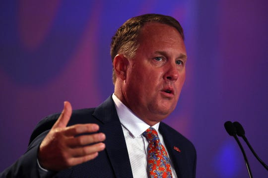 Hugh Freeze, showed here at SEC Media Days in 2017 as the head coach of Ole Miss, is in his first season as head coach at FBS independent Liberty.