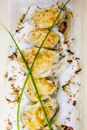 At Fratello's Restaurant in Sea Girt, oysters gratinee are topped with panko, Chardonnay and lemon beurre blanc.
