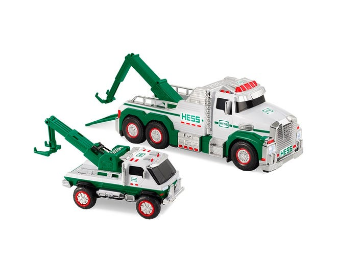 The 2019 Holiday Hess trucks have triple towing action, four realistic sounds, more than 60 LED lights, and a speedy, push-friction motor.