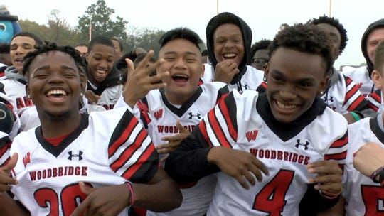 The Woodbridge High School community gets fired up during the taping of the Red Zone Road Show Tuesday, October 22, 2019.  They will face New Brunswick Friday night.