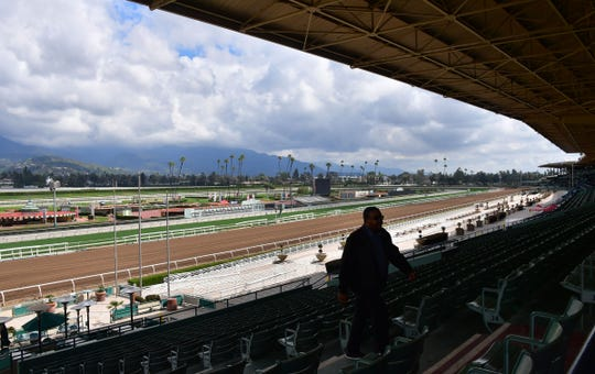 The stands at Santa Anita Racetrack are shown empty in Arcadia, California on March 7, 2019.