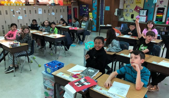"""Lee Elementary students is Ashley Dennes' class heard """"Dreamers"""" by upcoming National Center for Children's Illustrated Literature exhibiting artist Yuyi Morales on Tuesday during the Reading Rodeo. Oct 22 2019"""
