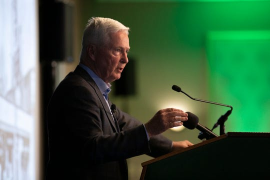 Dick's Sporting Goods Chairman and CEO Ed Stack speaks at the the Binghamton University Forum luncheon, Tuesday, Oct. 22 2019 at the Holiday Inn Binghamton.