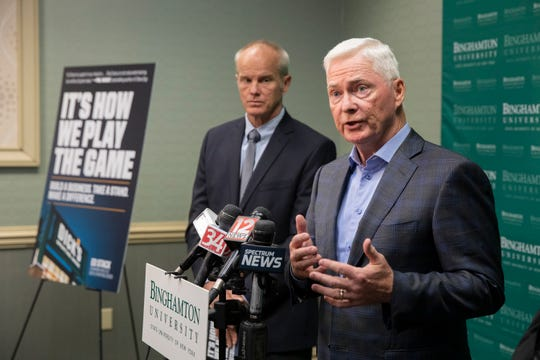 Dick's Sporting Goods Chairman and CEO Ed Stack speaks to media members before Binghamton University Forum luncheon, Tuesday, Oct. 22 2019.