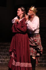 Macbeth (Liam Sanchez) appeals to Lady Macbeth (Hadassah R. Nelson).