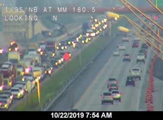 Delays were building in both directions after a vehicle fire on southbound I-95 Oct. 22, 2019.