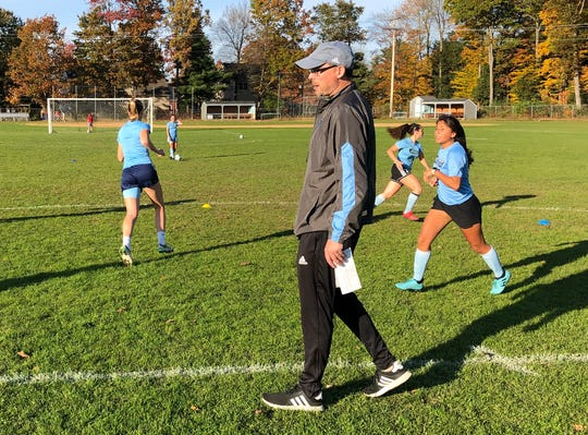 Head Coach Cory Payson presides over South Burlington High School girls soccer practice on October 21, 2019.
