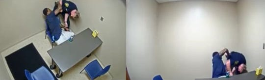 Still images from videos showing Thomas Robinson trying to take the gun from the holster of a Cincinnati police officer in a police interview room.